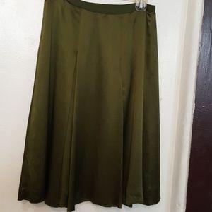 Context green silk skirt